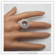 Free Shipping Center stone 11X9.5mm Oval Cut Solid 14k White Gold Full Roundl Cut . Setting Very Beautiful Ring