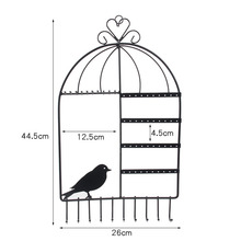 TONVIC Birdcage Shape Wall Mount Jewelry Organizer Hanging Earring Holder Necklace Display Stand Rack 44.5cm H White/Black/Pink(China)
