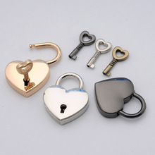 2Pcs Mini Padlock bag Locks Heart Shape Luggage Case Cord Lock With Key hardware Accessories Travel Accessory Safety anti-theft(China)
