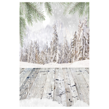 5X7FT 150X210CM Vinyl Christmas theme picture cloth custom photography background studio props Wood flooring snow woods(China)