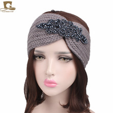 2017 new Women knitted headband Metal Jewel Accessory Winter Floral Turban crochet headwrap Beanie Headband hair accessories(China)