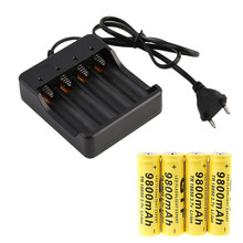 Rechargable Battery + Charger Sets 4x 18650 3.7V 9800mAh Li-ion Rechargeable Smart Indicator - E-Shocking store