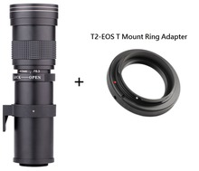 Lightdow 420-800mm F/8.3-16 Super Telephoto Manual Zoom Lens +T2 Mount Ring Adapter for Canon EOS DSLR Camera EF EF-S Mount Lens