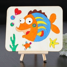 Children Kids Wooden Art Easel Stand DIY Small Fish Pattern Drawing Board Painting Shelf(China)