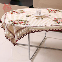 Pastoral style hot sale Table Cloth floral embroidery Dining Table Cover with lace patchwork Home Textile table runner SP1540