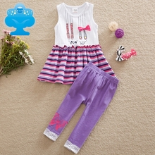 NEAT 2017 new girl dress with trousers suit discount with clothes set girl cartoon pattern decoration purple trousers SD6618#