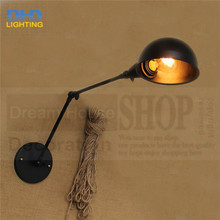 Free shipping double arm adjustable vintage wall lamp Nordic creative retro arm telescopic folding iron lamp