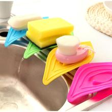1 pc Leaf type Holder Kitchen Sink Sponge Holder Sliding Ring Leaves Soap Box Sink Drain tank kitchen holder random color #YH(China)