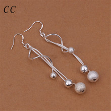 Buy Two lines scrub beads ball jewelry women curved silver plated drop dangle earrings casual fashion bijoux ladyCCNE0585 for $1.40 in AliExpress store