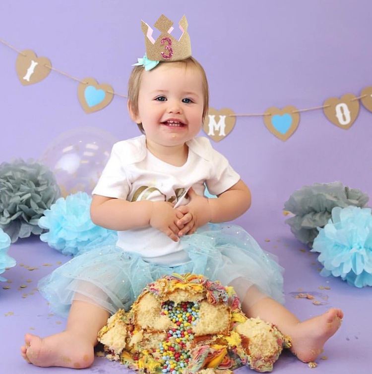 Baby-Girl-First-1st-Birthday-Party-Hat-Gold-Priness-Crown-1-5-Year-Old-Glitter-Hair