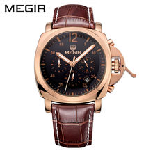 MEGIR Original Men Watch Top Brand Luxury Chronograph Military Watches Leather Quartz Wrist Watches Relogio Masculino Men 3006(China)
