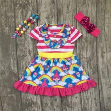 new arrival summer cotton baby girls kids boutique clothes dress sets stripe troll print hot pink ruffles rainbow yellow kids(China)