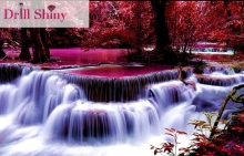 CNA 5D DIY Diamond Painting Full Mosaic Diamonds Purple Waterfall Landscape 3D Cross Stitch Kits Ribbon Emboridery Room Decor