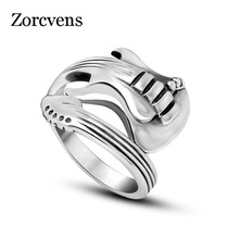 ZORCVENS New Fashion Jewelry Stainless Steel Mens Ring Titanium Steel Engraved Guitar Punk Rock Classic Silver Rings for Men