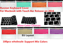 "HRH 100pcs EU/UK Russian Silicone Keyboard Cover Skin For New MacBook Pro 13"" A1706 Pro 15"" A1707 With Touch Bar Release 2016(China)"