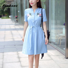 RENBANG 2018 New Arrival Quality Plus Size Women Clothes Female Fashion Casual Denim Dress Elegant Slim Office Jeans Dresses(China)