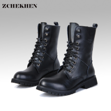 Genuine Leather Men Military Boots Men's Motorcycle Riding Hunting Casual Walking Shoes Designer Martin Botas Hombre black #11(China)