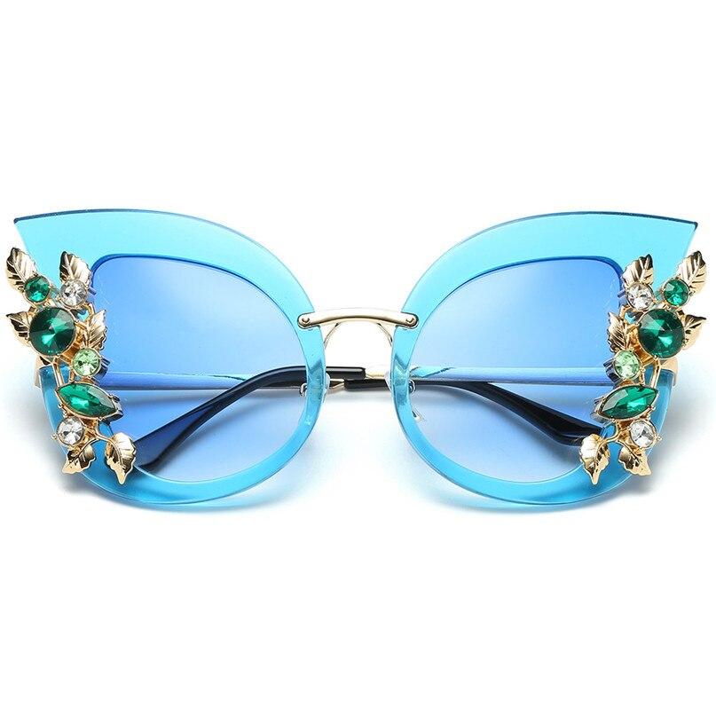 Sport Sunglasses Cycling Eyewear Womens Fashion Artificial Diamond Cat Ear Metal Frame Brand Classic Sunglasses #2J06#F (17)