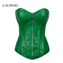 LAUWOO New Women's Sexy Green lacquer Overbust corsets Lingerie Faux Leather Gothic Corset Bustiers corselet Clubwear Top S-2XL(China)