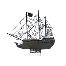 Black Colorful Pirates Of The Caribbean Black Pearl Ship Fun 3d Metal Diy Miniature Model Kits Puzzle Toys Children Boy Splicing