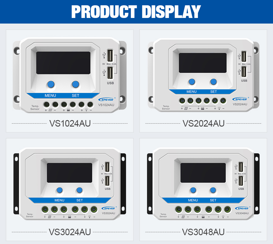 EPEVER 45A Solar Controller 12V 24V Auto VS4524AU PWM Charge Controller with Built in LCD Display and Double USB 5V Port_08