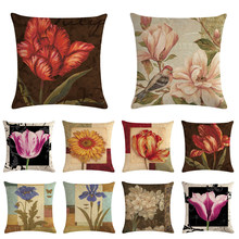 45*45cm Printed Cotton Linen Cushion Cover Flower Home Decor Pillowcase Octopus Sofa Bedding Cushion Case(China)