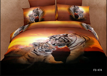 orange tiger animal 3d printed bedding full queen size comforter sets Egyptian cotton 600TC girl's bedroom decoration 4-5 pcs