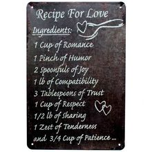 Recipe For Love  Metal Painting Wall Bar Home Art Decor Cuadros  Mix Order 30X20CM A-5888