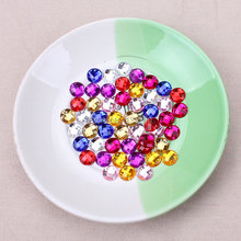 100pcs/lot 8mm red blue white colorful Sew On Stone Flatback Crystal Clear Color Sewing On Crystal 2 Holes For Dress(China)