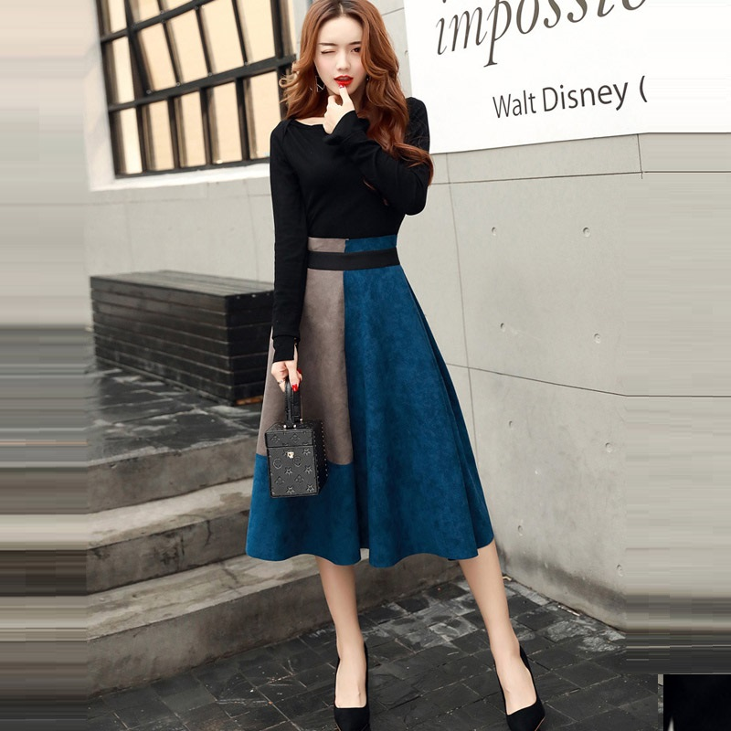 Korean Knee Length Skirts Suits 2018 Autumn Winter Runway Casual 2 Piece Set Women Slash Neck Tops And High Waist A-line Skirts