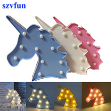 Szvfun Unicornio LED Night Light Head Luminaria 3D Lamp Novelty Marquee Letter Light Cute Animal Wall Lamp for Party Kids Decor(China)