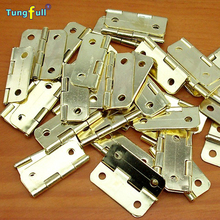 High Quantity Hardware hinge box 1 inch rounded copper hinge 24*20mm wooden gift glass cabinet hinge Fast Shipping