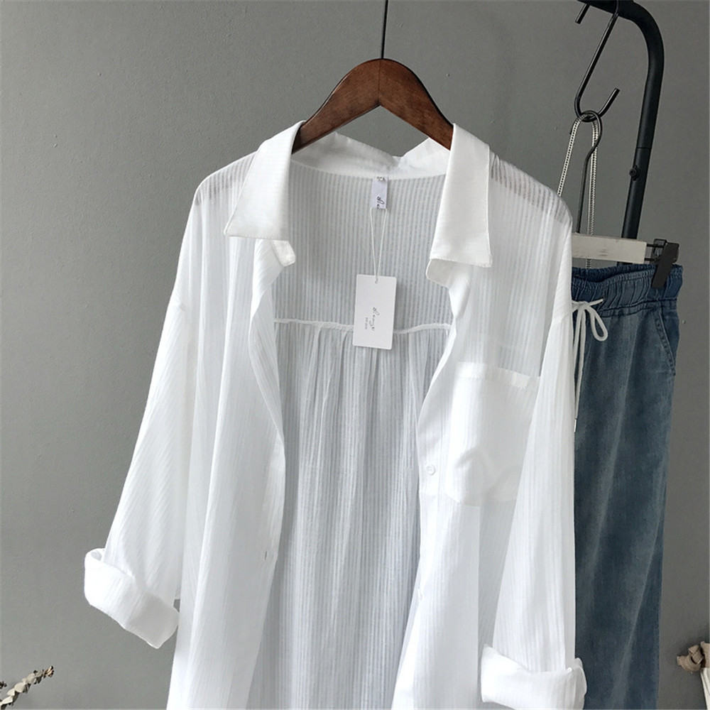 100% Cotton Casual White Long Blouse Women 2018 Spring Women Long Sleeve White Shirts Blouse High quality loose Blouse Tops (4)