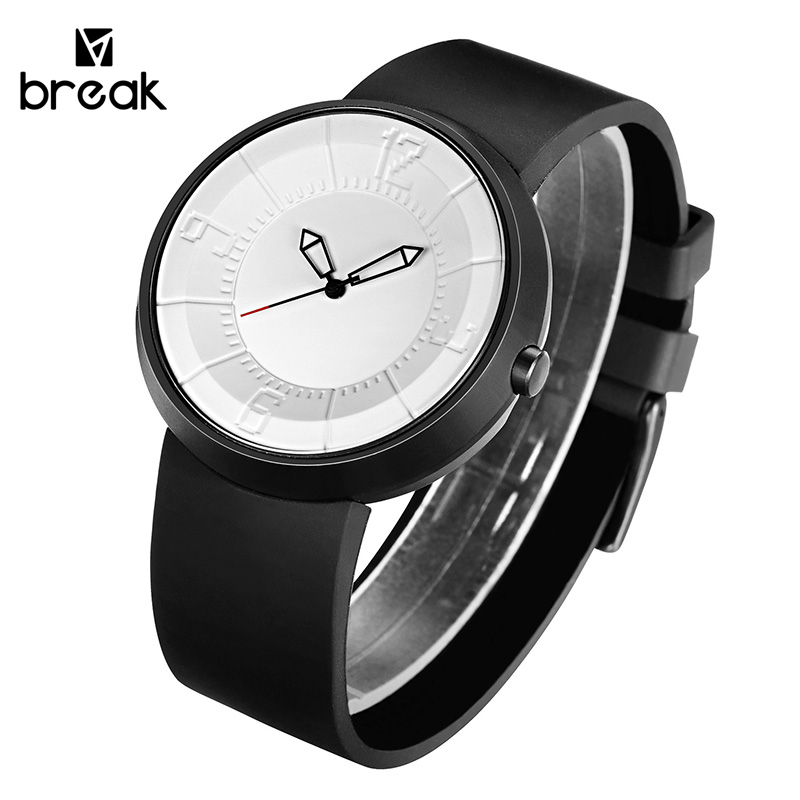 BREAK Men Unisex Creative Fashion Casual Rubber Band Sport Waterproof Quartz Watch Gift for Women Classic Black Wristwatches<br>