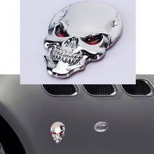BBQ@FUKA Stainless Alloy Skull Head Bronzed Fender Side Emblem Badge Sticker Auto Car Silver Fit For Jeep Dodge Chevy Ford ect(China)