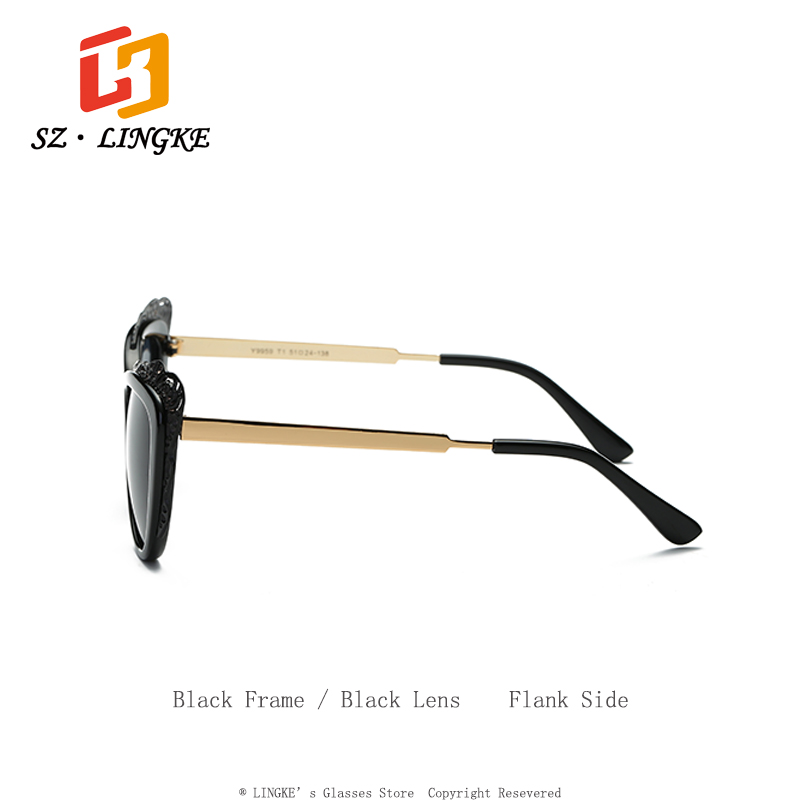 SZLINGKE Sun Glasses Woman Brand Polarized Cateye Hollow Out Metal Frame Lady Sunglasses Classical Retro Steam Punk Eye Glasses