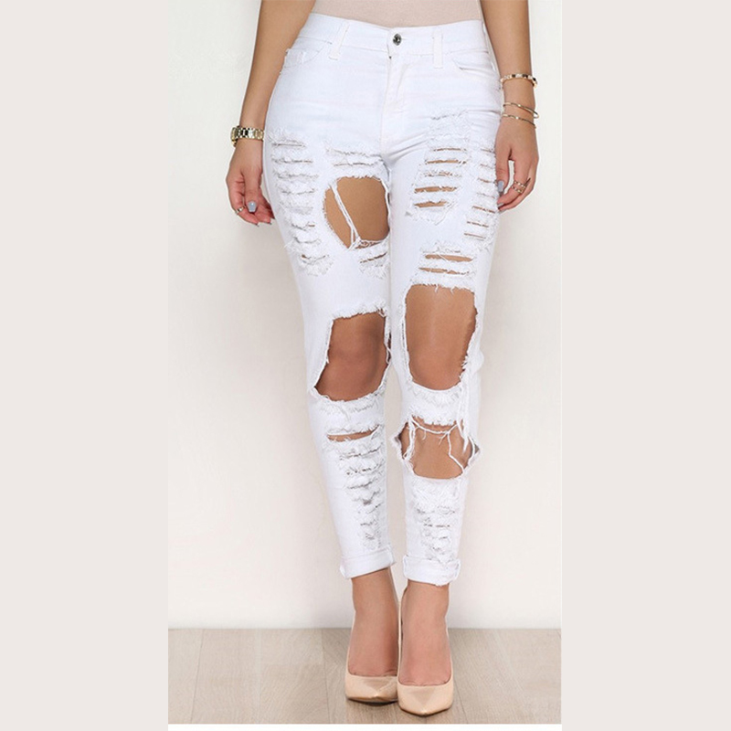 Denim Pants Women Black/White Color With Hole Jean Slim American Pencil Pants Girl Autumn Trousers Sexy 2017 New Jeans Plus SizeОдежда и ак�е��уары<br><br><br>Aliexpress