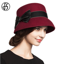 FS Fascinator Women Wool Felt Hats Red Khaki Striped Bowknot Winter Wide Brim Elegant Ladies Fedora Cloche Hat