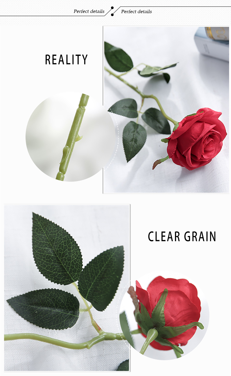 1pc Silk Roses Artificial Flowers Wedding Decoration Fake Flowers White Blue Green Pink Red Purple Artificial Silk Flowers Roses 123_05