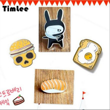 Timlee X064 Free shipping Cute Rabbit Bread Skull Brooch Pins,Fashion Jewelry Wholesale(China)