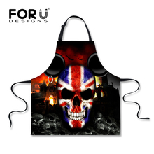 FORUDESIGNS Brand Country US UK Flag Kitchen Aprons Cool 3D Skull Apron for Men Chef Cooking Apron Punk Style Skulls BBQ Apron