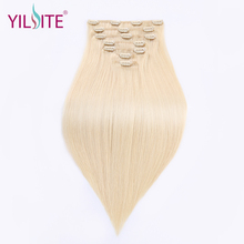 YILITE Full Head Clip in Human Remy Hair Extensions 110g/set 14-16inch Double Drawn Straight European Russian Hair Blonde Color(China)