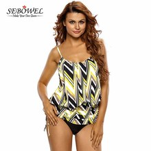 SEBOWEL 2017 Plus size Tankini Swimsuit Tops Sexy Women's Split Swimwear Female Beachwear Top Sport Strap Padded Bikini Tops(China)