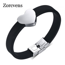 Modyle Hot Adjustable Size Stainless Steel Heart Bracelet For Women Or Men Silicone Charm Bracelets & Bangles Couples Lovers(China)