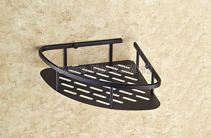 Single Tier Black Storage Oil Rubbed Brass Bathroom Shelves Corner basket Racks Shelf Wall Mounted Wba529<br><br>Aliexpress