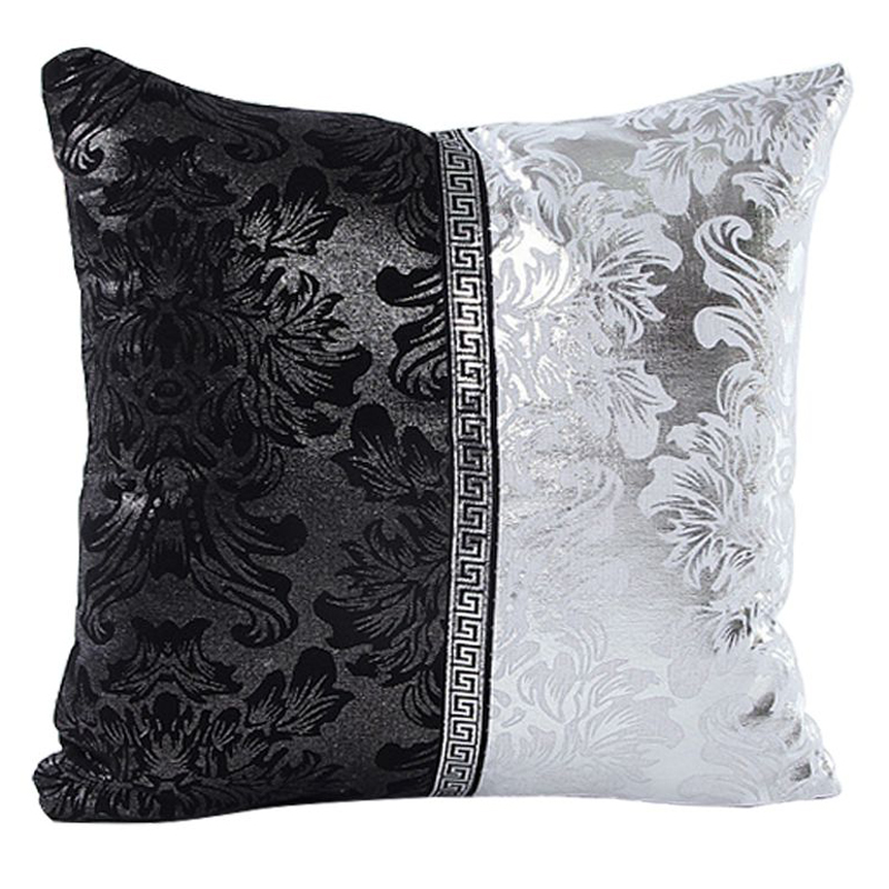Mayitr 45x45cm Black Sliver Printed Pillow Case Floral Throw Pillow Covers Splice Square Cushion Covers for Seat Sofa Decoration