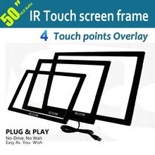"4 Touch points, 50"" IR Multi Touch screen Frame with USB port for touch panel, LCD monitor, Free shipping"