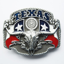 Distribute Belt Buckle New Pewter Texas Longhorn State Flags Belt Buckle Free Shipping 6pcs Per Lot Mix Style is Ok(China)