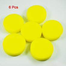 Car Auto 6 pcs Yellow Round Sponge Wax Applicator Pads(China)