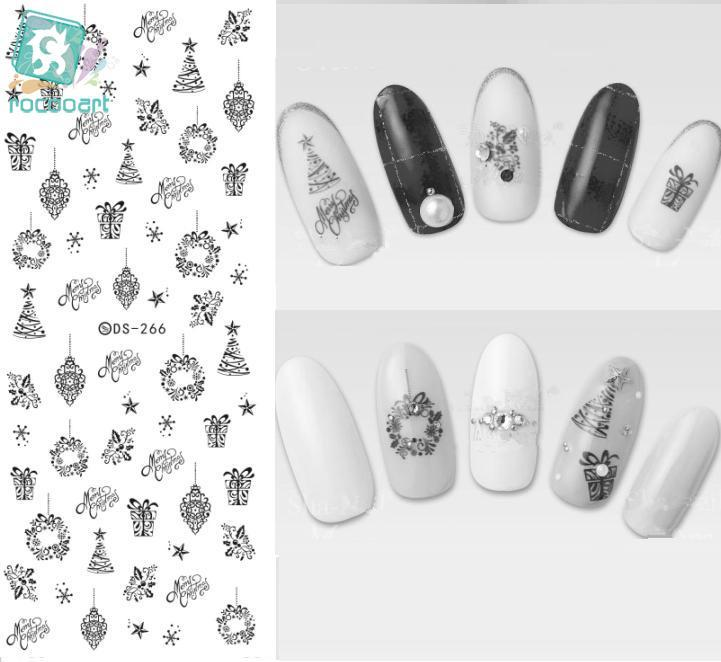 Rocooart DS266 Water Transfer Nails Art Sticker Black Strings Drawing Pendent Nail Wraps Sticker Watermark Fingernails Decals(China (Mainland))